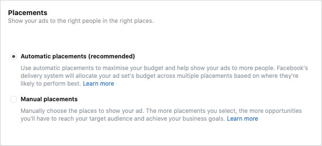 facebook annonceplaceringer