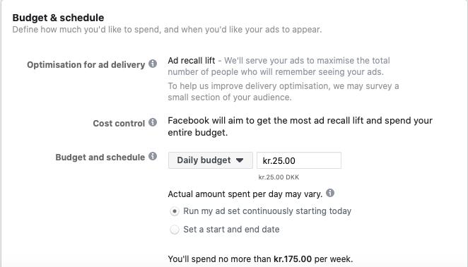facebook annoneringsbudget