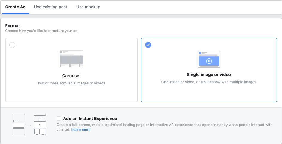 opret enkelt billedes facebook annonce