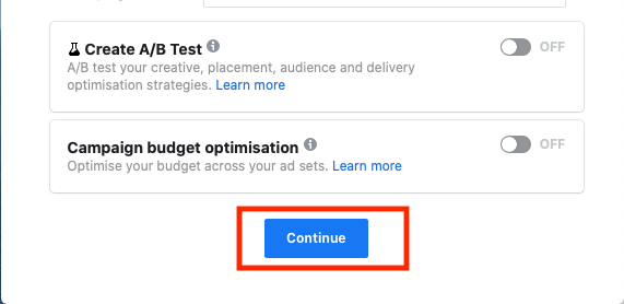 Konfigurer facebook annoncekonto