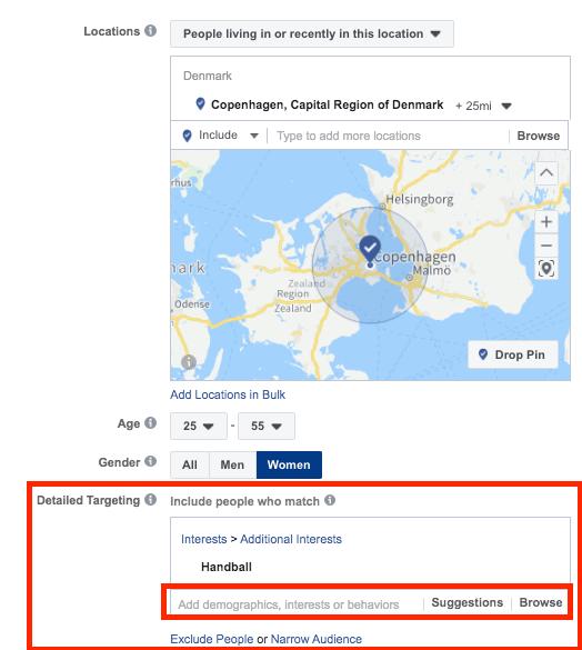 facebook interesse målretninger