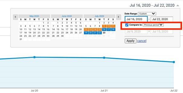 sammenligne perioder i google-analytics